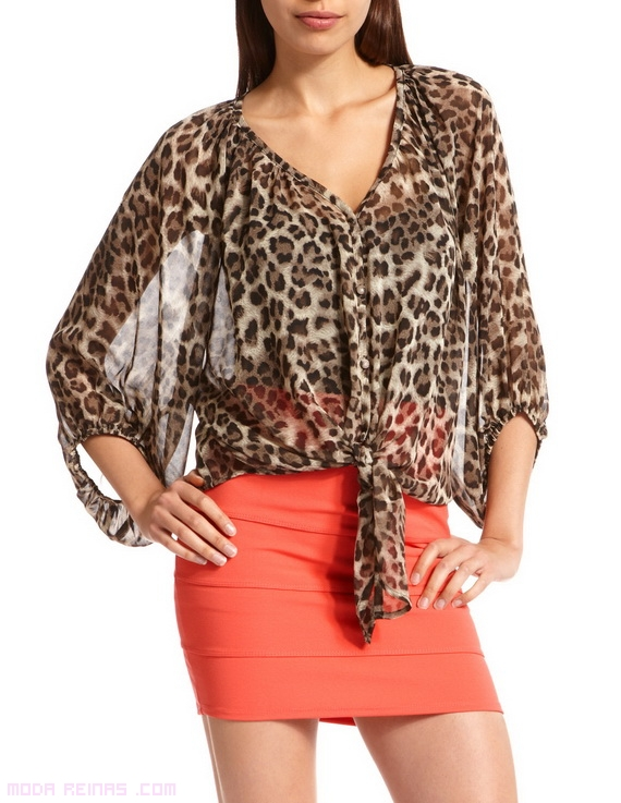 blusas leopardo de gasa