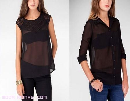 blusas negras tranparentes