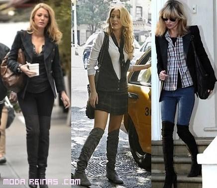 pantalones pitillo con botas altas
