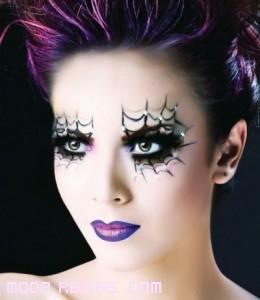 maquillaje con brillantes para halloween