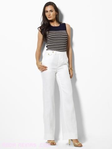 Pantalones de talle alto en blanco