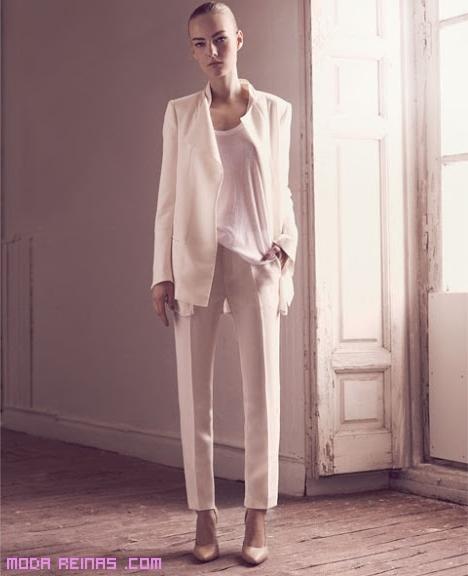 pantalones de tela blancos
