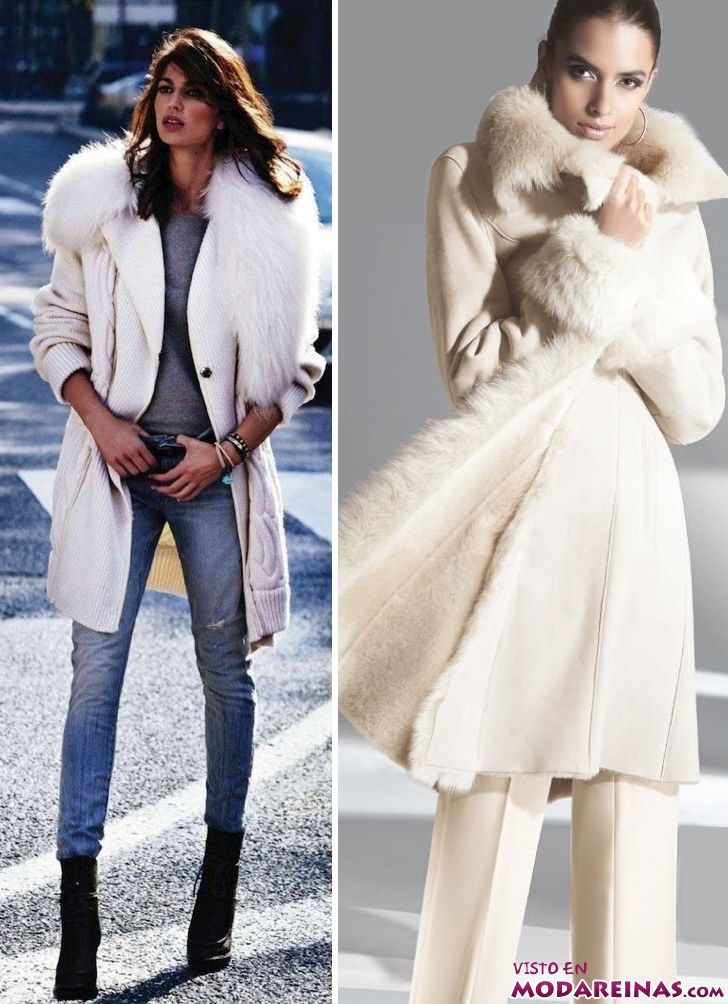 abrigos blancos con pelo