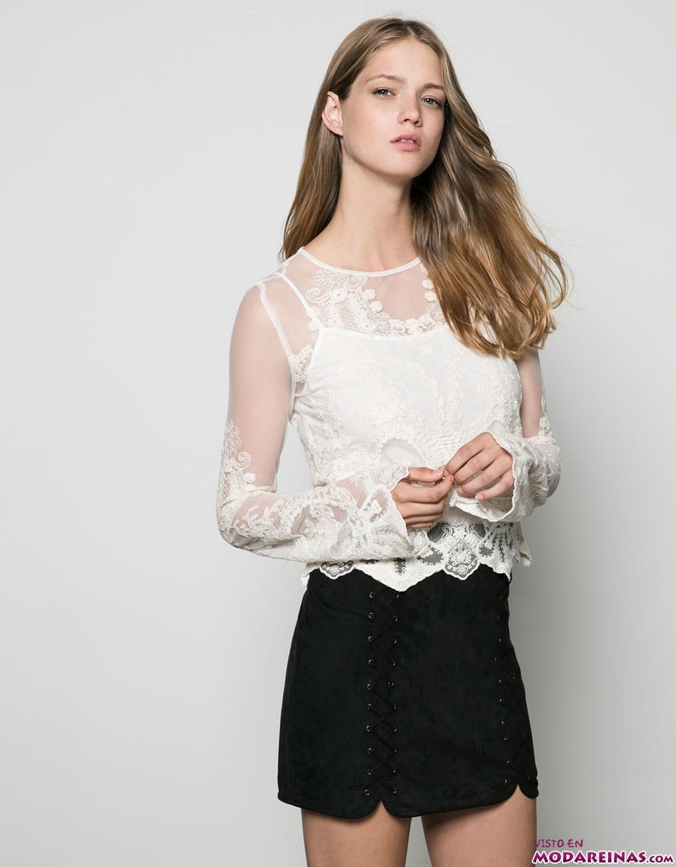 blusa blanca transparente de bershka