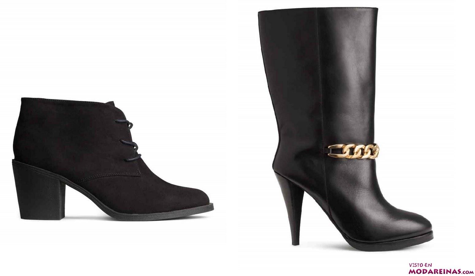 botines de ante y botas negras
