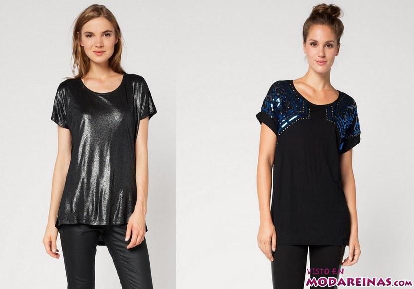 camisetas con brillos de manga corta