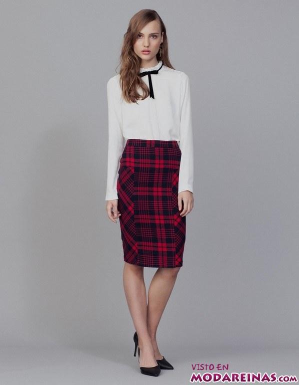 falda de tubo estampado tartán