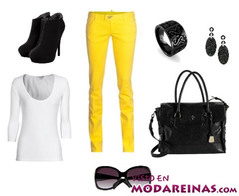 look con pantalones amarillos
