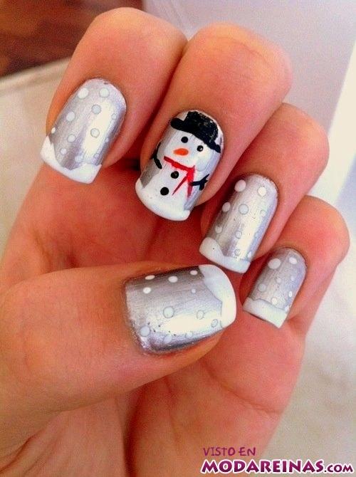 manicura muñeco de nieve