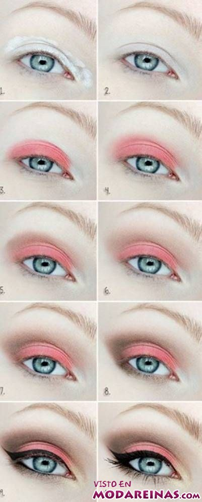 maquillaje con sombras coral