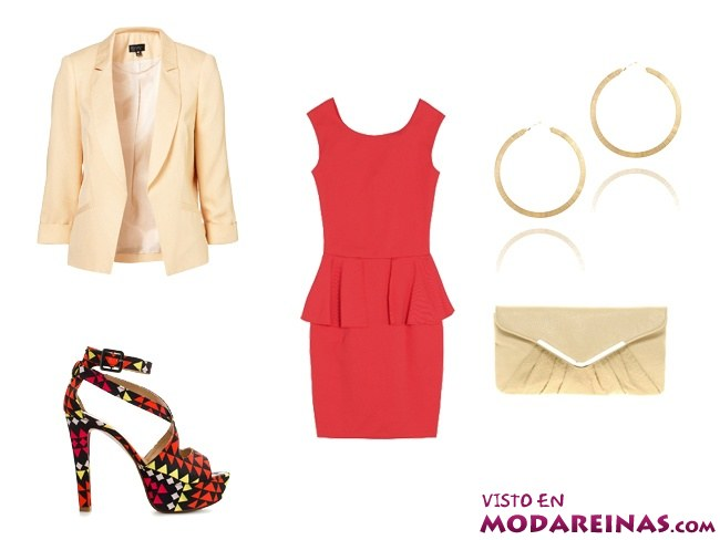 outfit con vestido rojo
