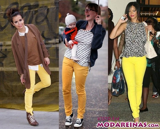 pantalones amarillos de famosas