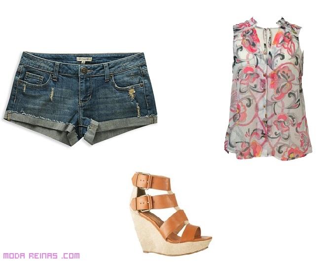 Shorts con cuñas de moda