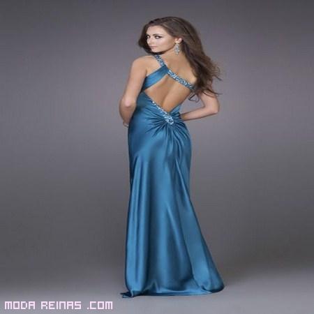 vestido largo sin espalda en azul