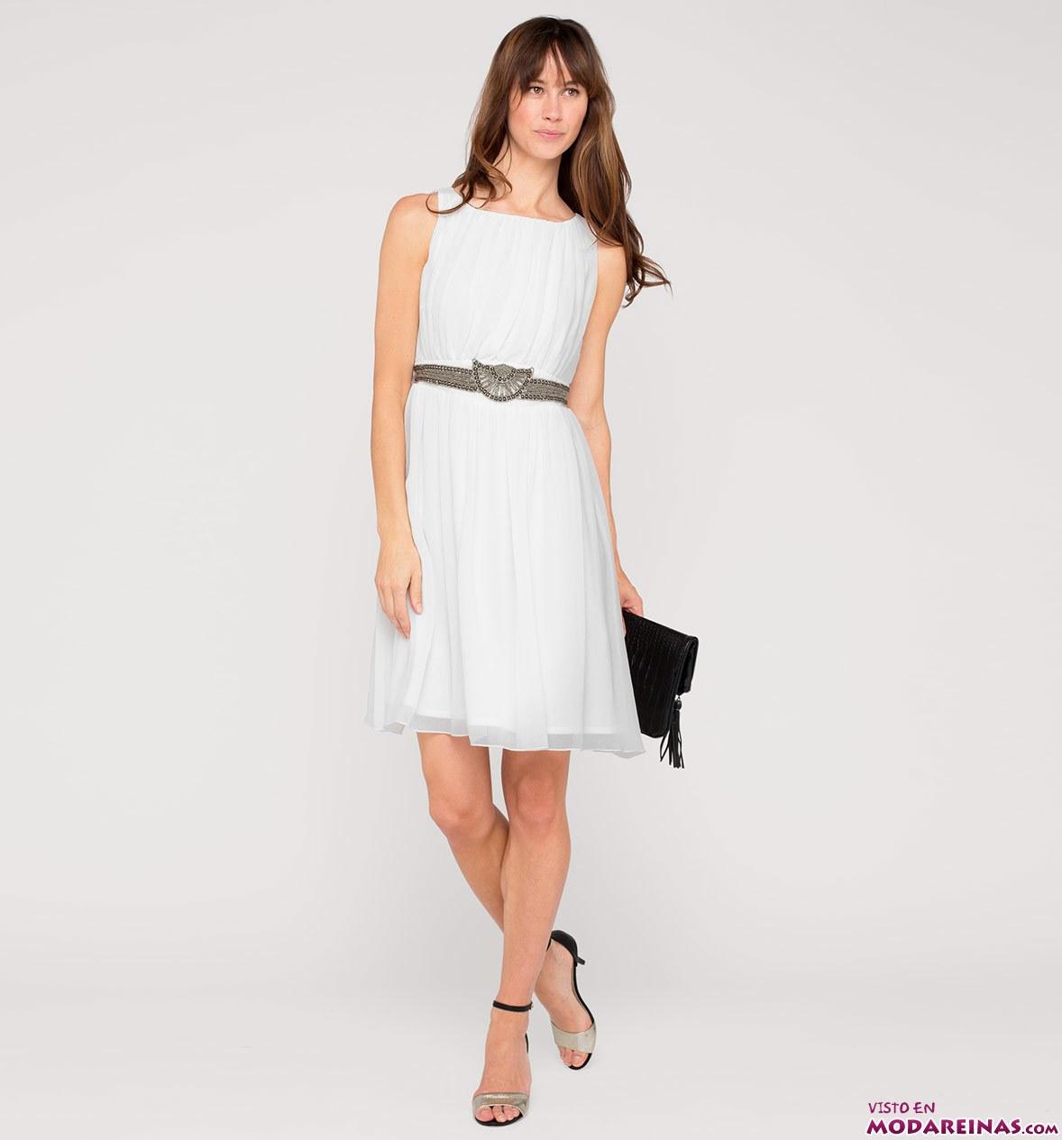 vestido blanco c&a chifón