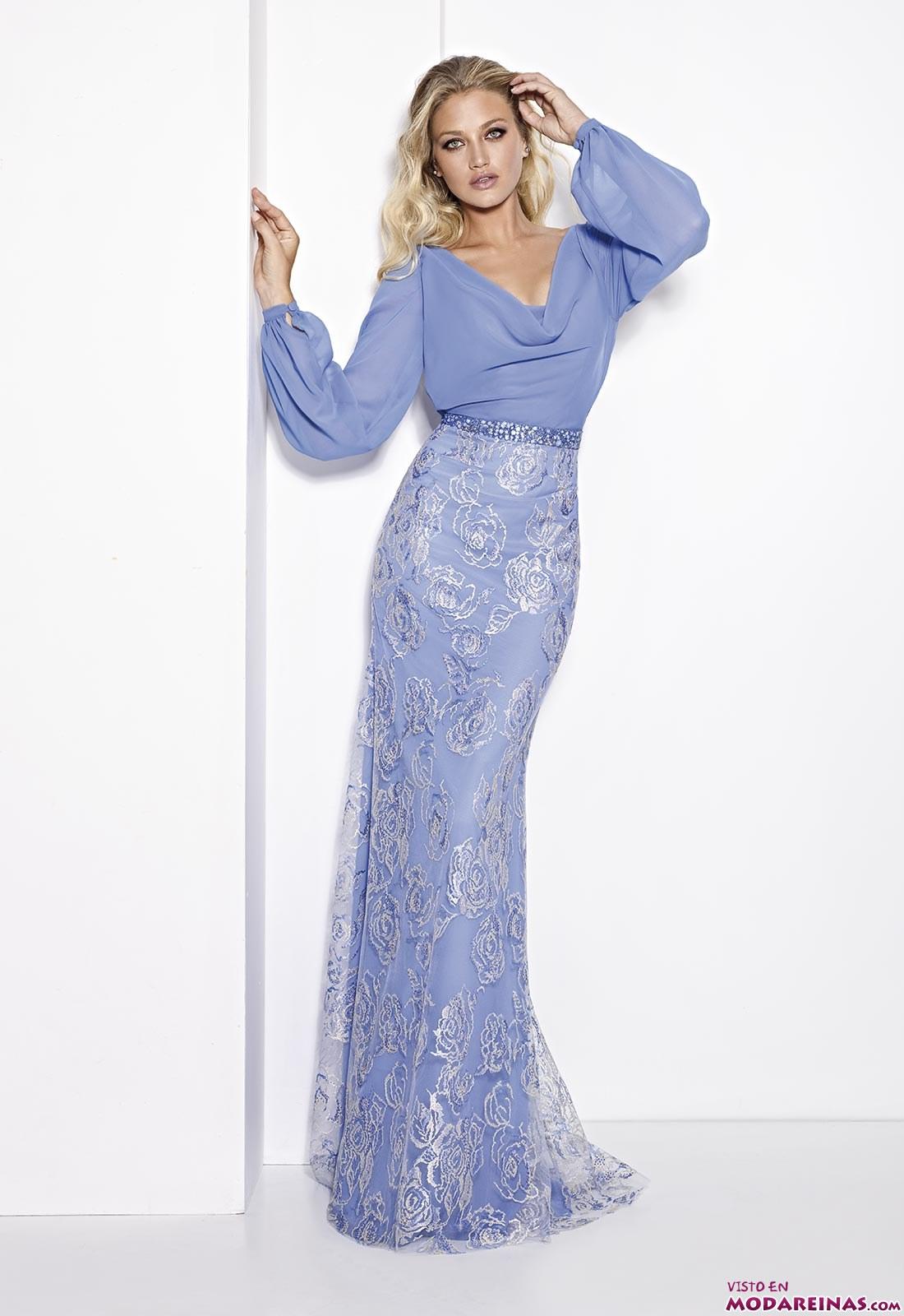 vestido con mangas fiesta azul claro