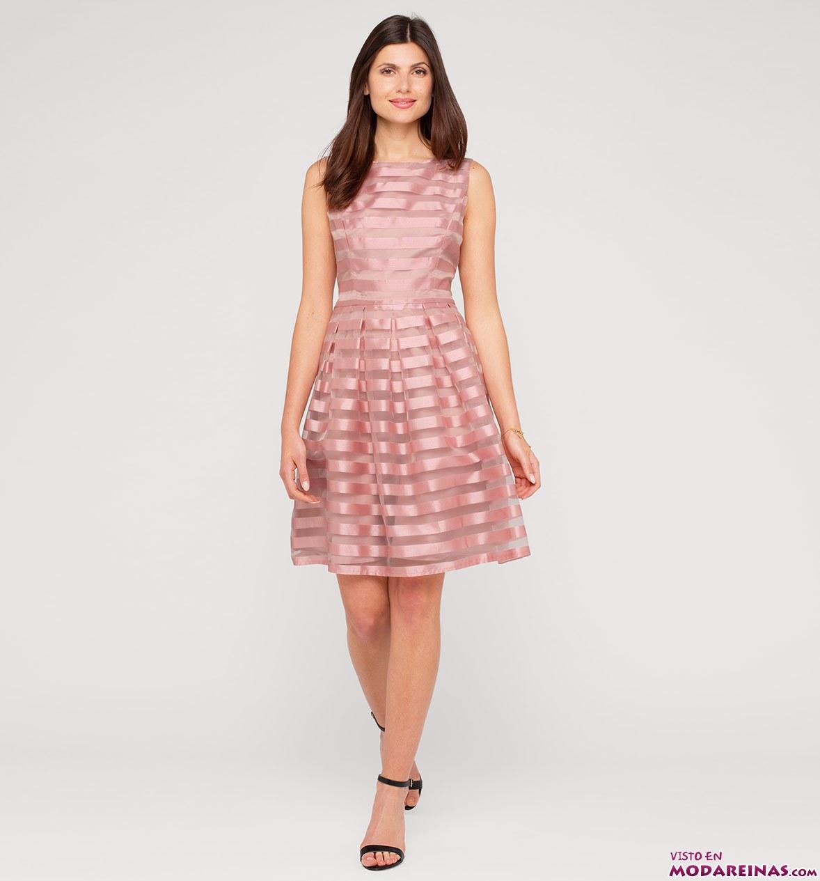 vestido corto en color rosa de rayas