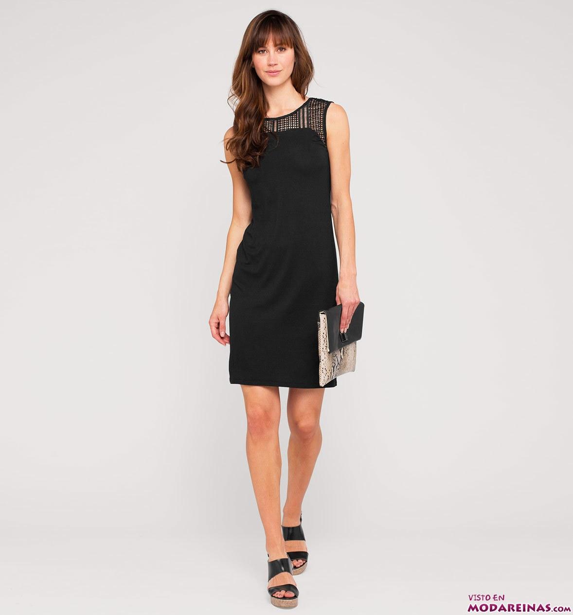 vestido corto negro de c&a