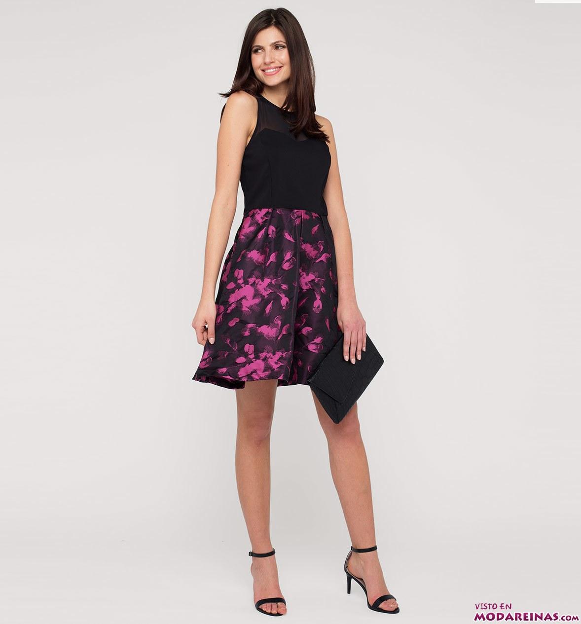 vestido de fiesta con falda estampada