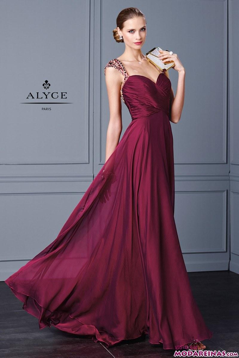 vestido de fiesta en color burdeos