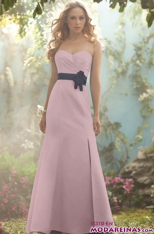 vestido de fiesta rosa con cinturón