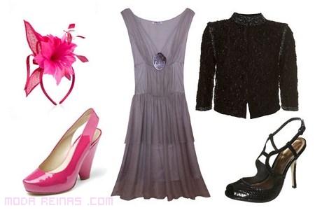 vestido gris y complementos fucsia