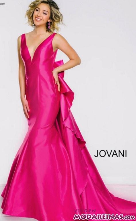 vestido jovani color rosa fucsia