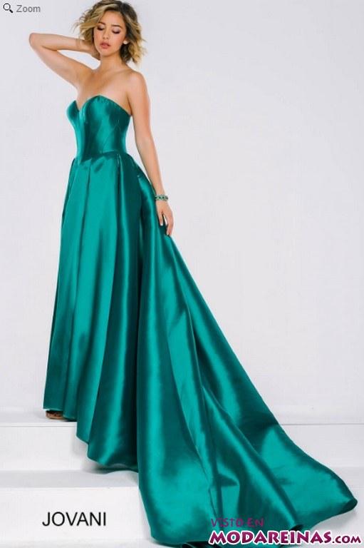 vestido jovani verde satinado