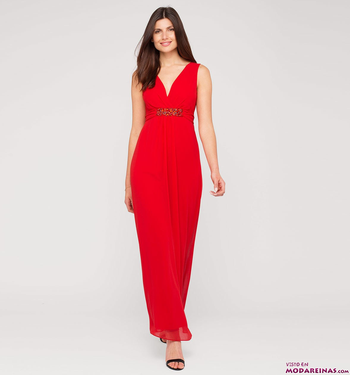 vestido largo en color rojo c&a