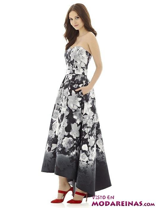 vestido largo floral en blanco y negro