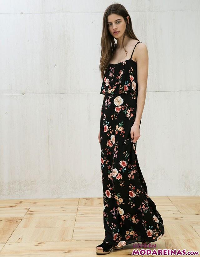 vestido largo negro de flores
