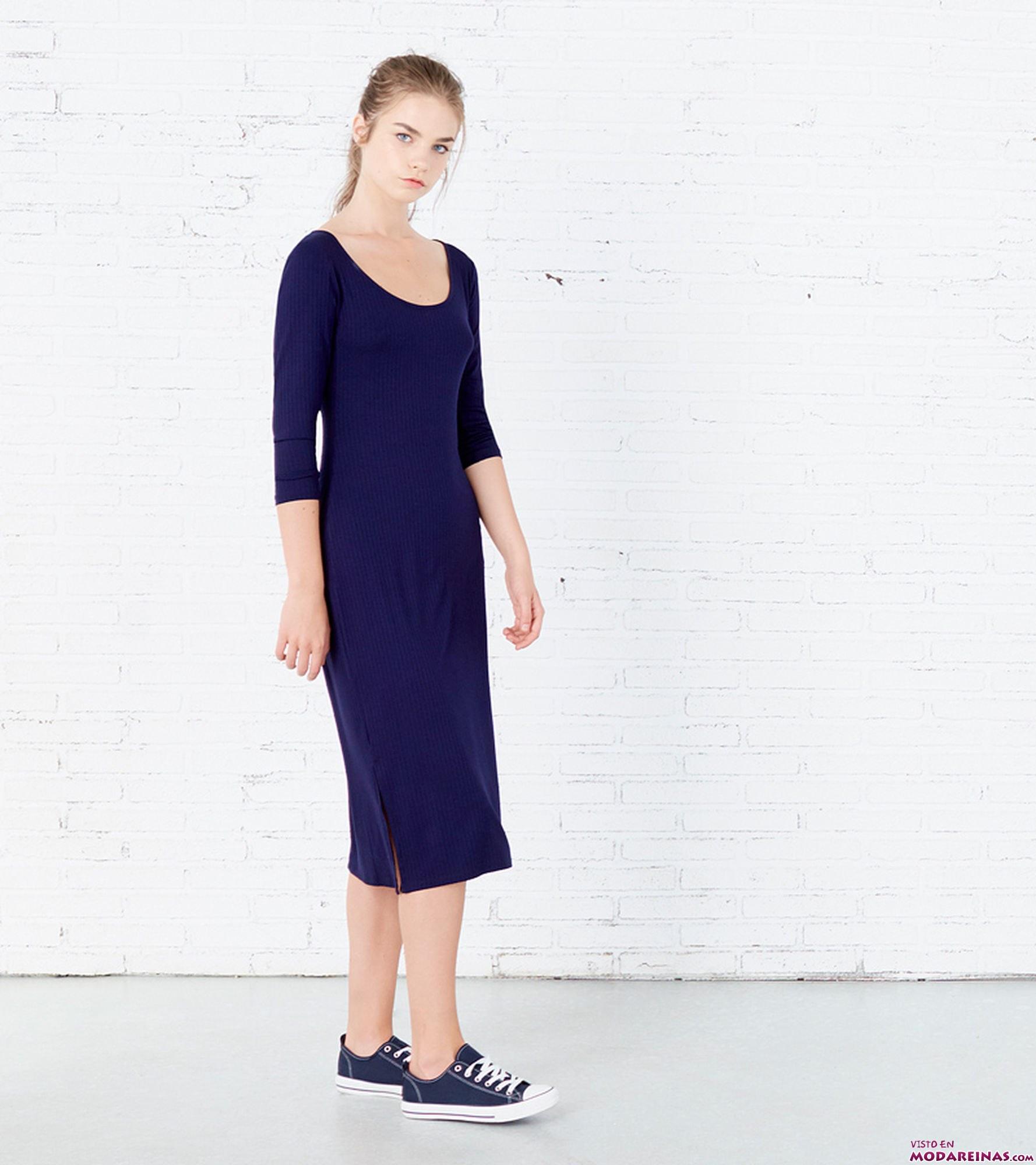 vestido maxi con mangas azul