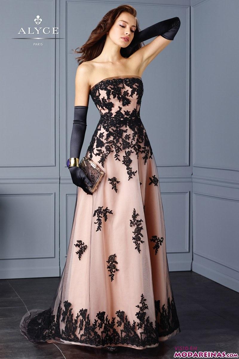 vestido negro con encaje de fiesta