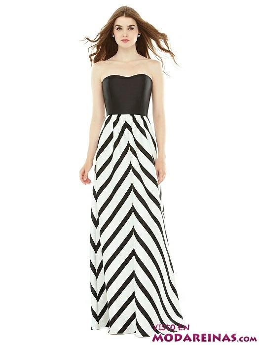 vestido recto de dama en blanco y negro