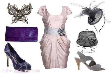 complementos en malva para vestido rosa