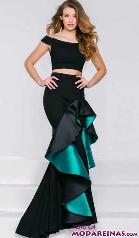 vestido volantes fiesta en negro