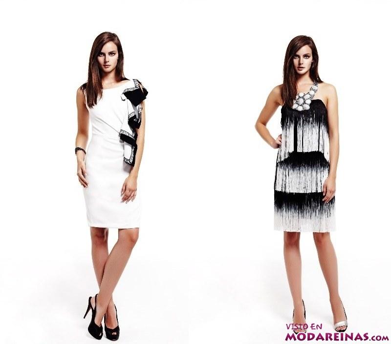 vestidos cortos en blanco y negro
