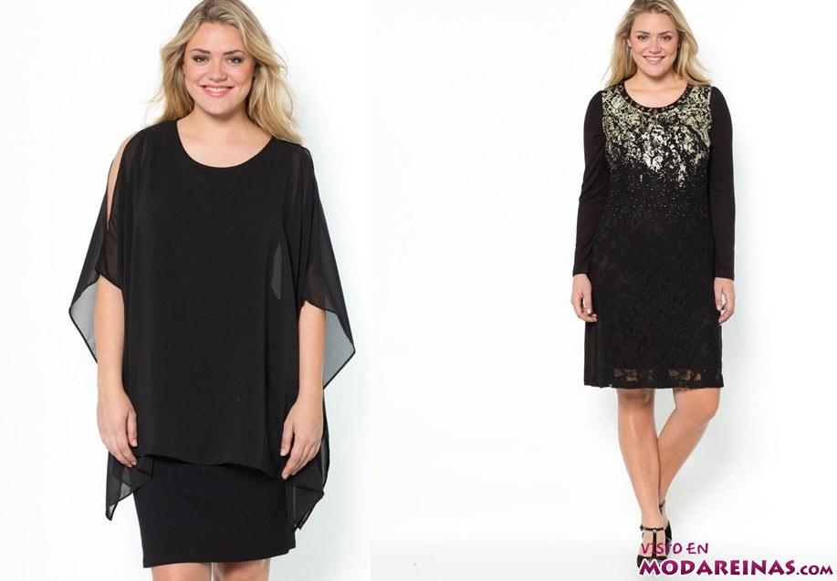 Vestidos cortos en color negro talla grande