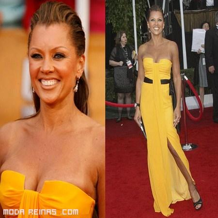 vestidos palabra de honor amarillos