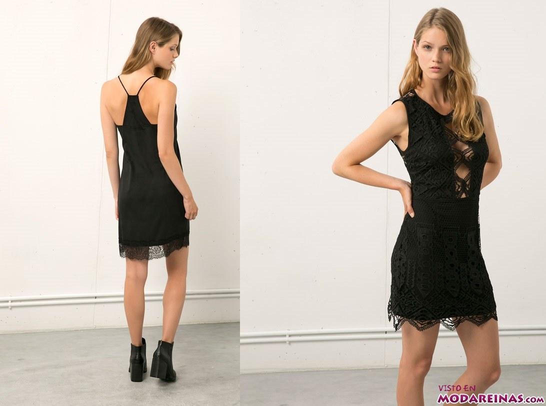vestidos en negro de bershka
