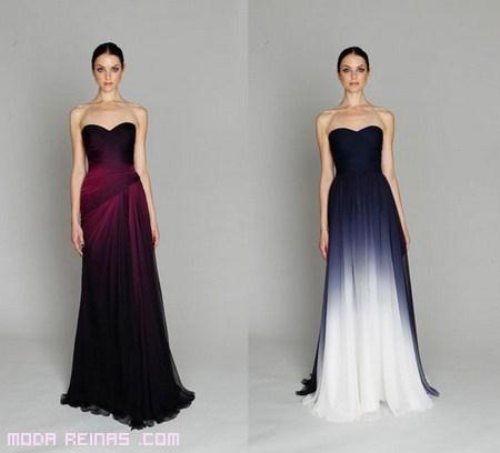colores oscuros degradados en vestidos