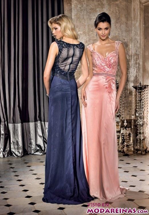vestidos largos de fiesta en azul y rosa